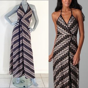 NEW Karina Grimaldi Florence Zig Wrap Maxi Dress